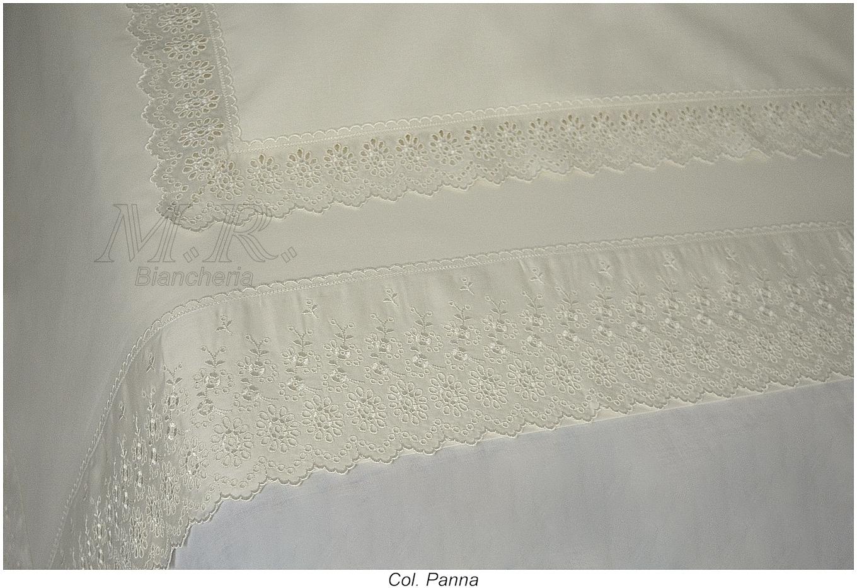 Lenzuola Matrimoniali Pizzo Sangallo.Lenzuola Matrimoniale Pizzo S Gallo Svizzero Cotone Bianco Panna